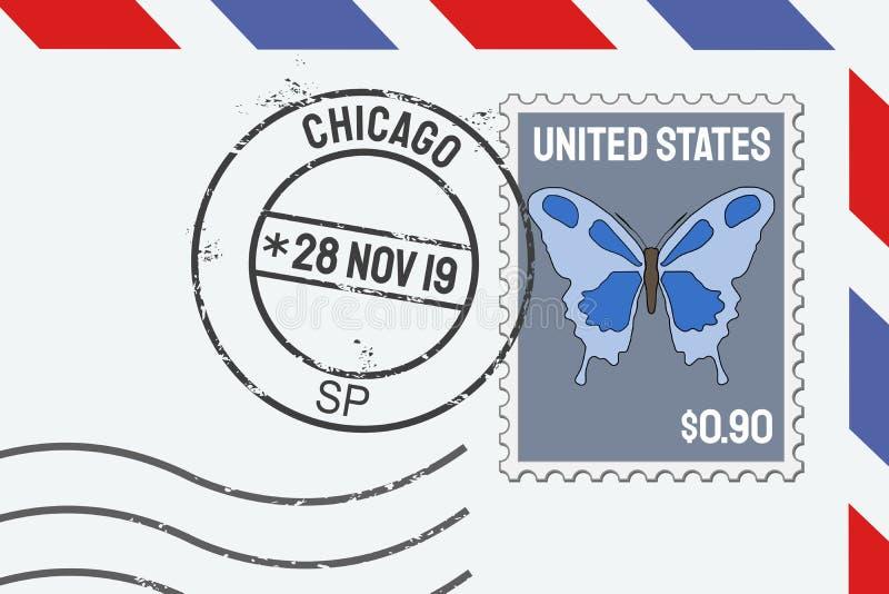 Bollo della posta di Chicago royalty illustrazione gratis