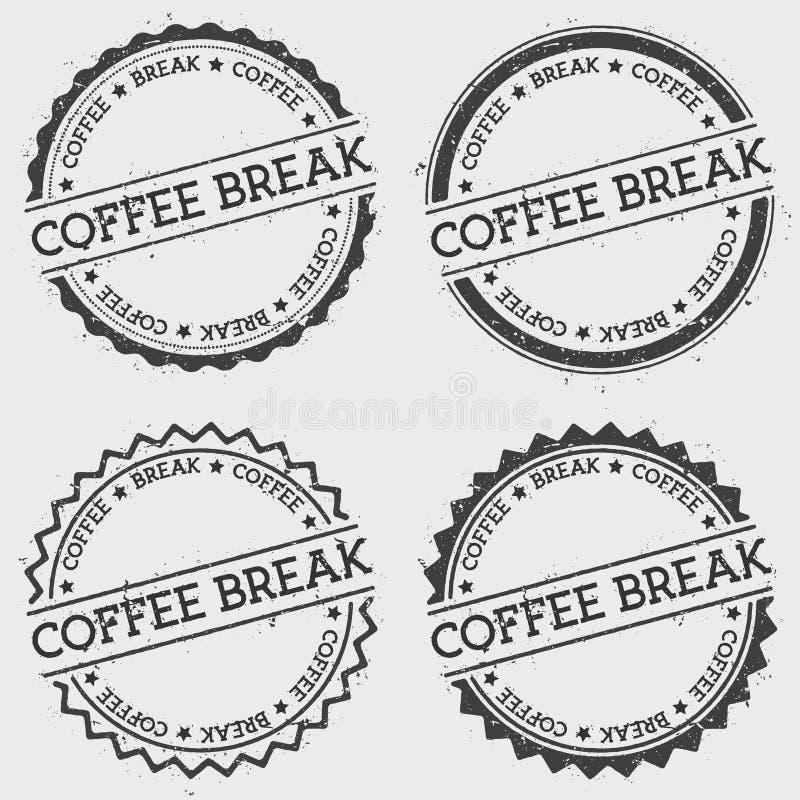 Bollo delle insegne della pausa caffè isolato su bianco illustrazione di stock