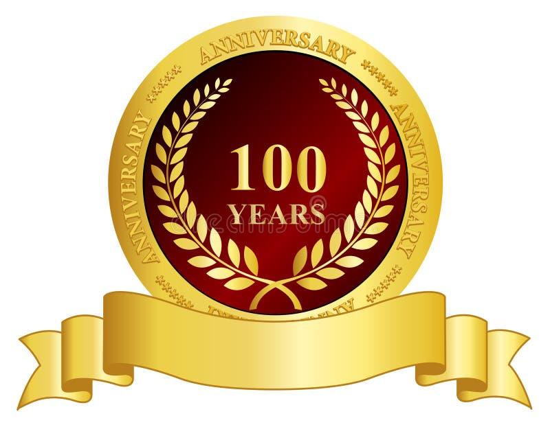 bollo di anniversario di 100 anni con il nastro illustrazione vettoriale