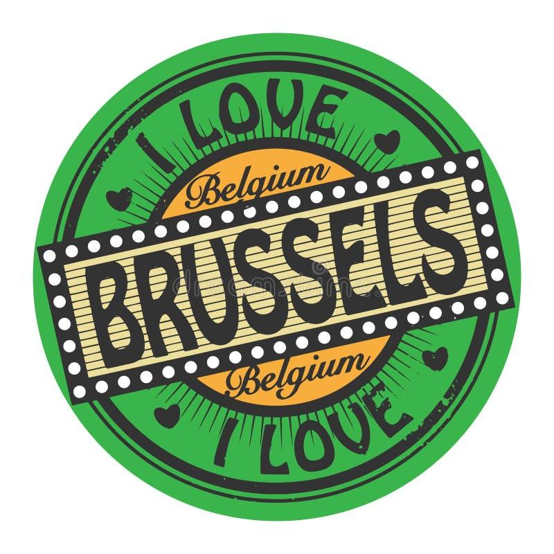 Bollo di colore di lerciume con amore Bruxelles del testo I dentro illustrazione di stock