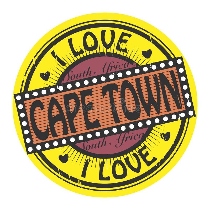 Bollo di colore di lerciume con amore Cape Town del testo I dentro illustrazione di stock