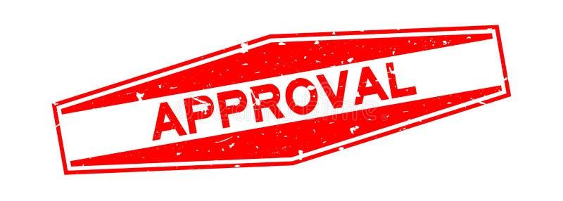 Bollo di gomma della guarnizione di esagono rosso di approvazione di lerciume su fondo bianco royalty illustrazione gratis