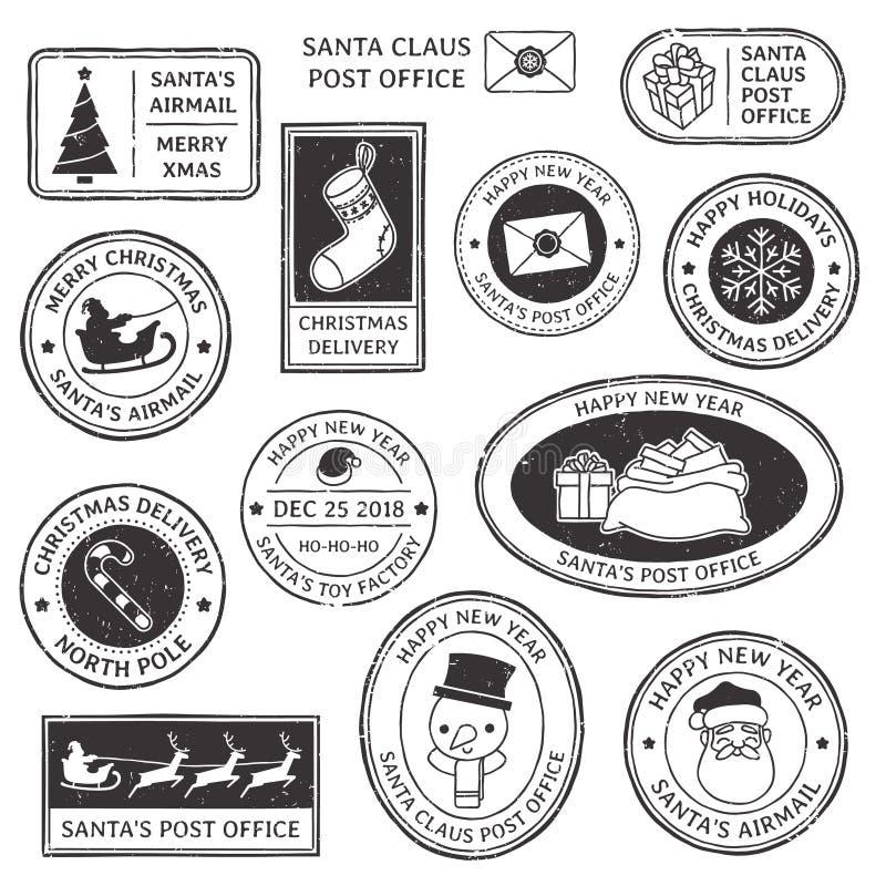 Bollo di natale Il timbro postale d'annata di Santa Claus, il prestigio della posta del polo nord ed il simbolo del fiocco di nev illustrazione vettoriale