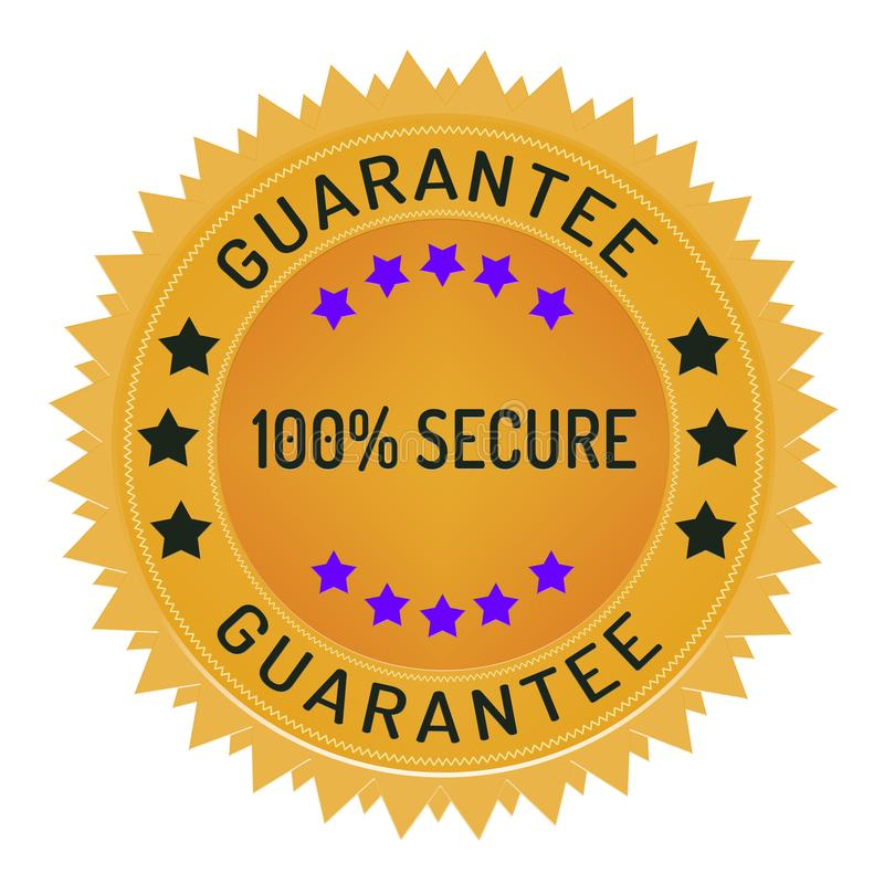 Bollo di protezione dei dati e di sicurezza isolato su bianco fotografia stock