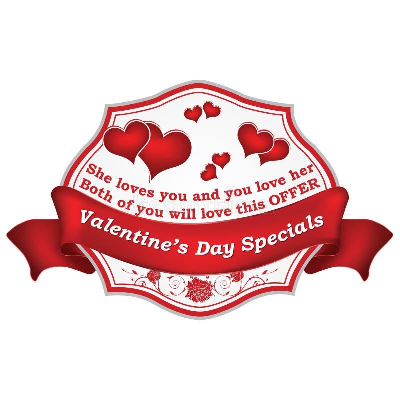 Bollo di speciali di giorno del ` s del biglietto di S. Valentino con i cuori, per vendita al dettaglio di affari royalty illustrazione gratis