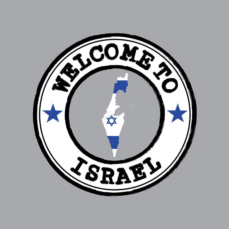Bollo di vettore del benvenuto ad Israele con la bandiera di nazione sul profilo della mappa nel centro illustrazione di stock