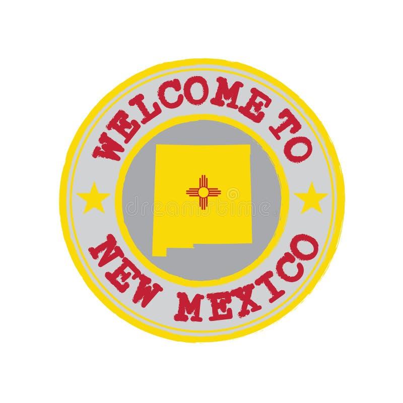 Bollo di vettore del benvenuto nel New Mexico con la bandiera degli stati sul profilo della mappa nel centro royalty illustrazione gratis