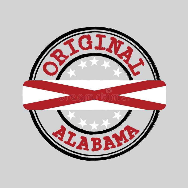 Bollo di vettore per il logo originale con testo Alabama e legare nel mezzo con la bandiera degli stati illustrazione vettoriale