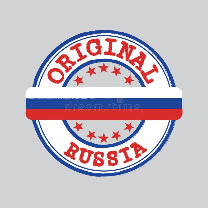 Bollo di vettore per il logo originale con testo Russia e legare nel mezzo con la bandiera di nazione illustrazione di stock