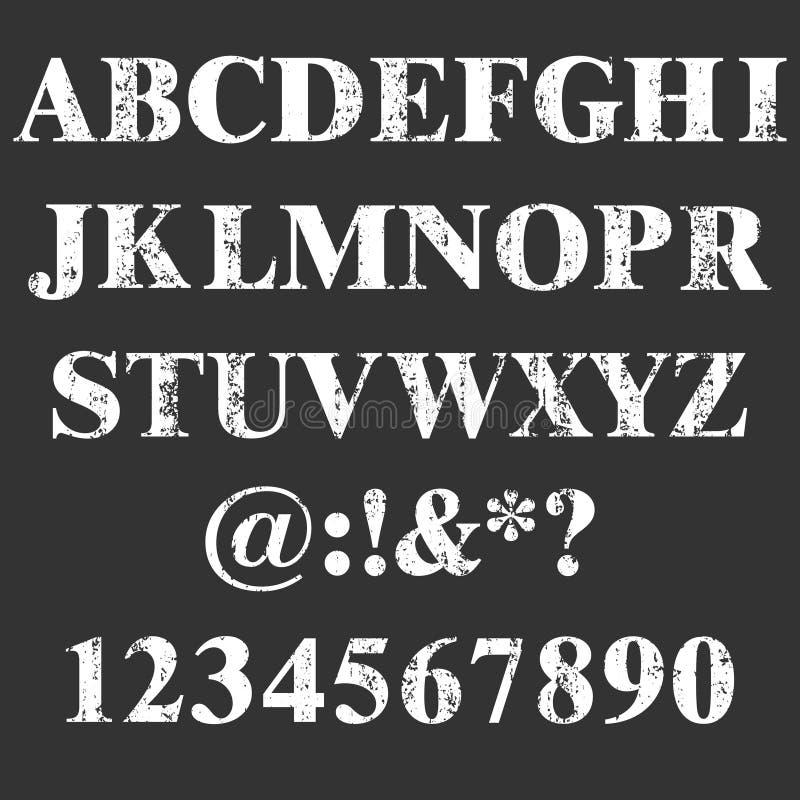 Bollo di vettore tutti i lettere e numeri Struttura di Grunge Elementi d'annata Illustrazione di vettore Fonte sporca della lette illustrazione vettoriale