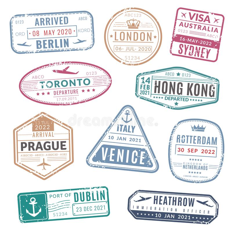 Bollo di viaggio L'internazionale d'annata di visto del passaporto è arrivato bolli con struttura di lerciume Insieme isolato di  illustrazione vettoriale