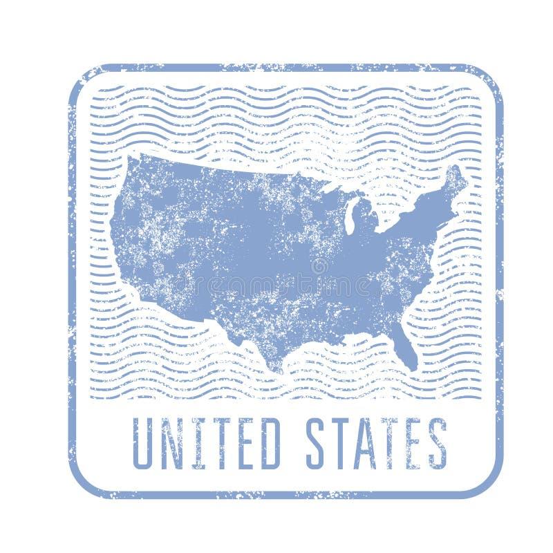 Bollo di viaggio di U.S.A. con la siluetta della mappa degli Stati Uniti di Amer illustrazione vettoriale