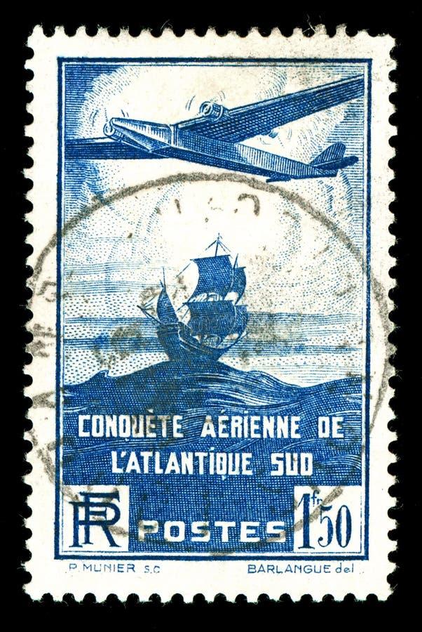 Bollo francese dei velivoli dell'annata rara fotografie stock libere da diritti