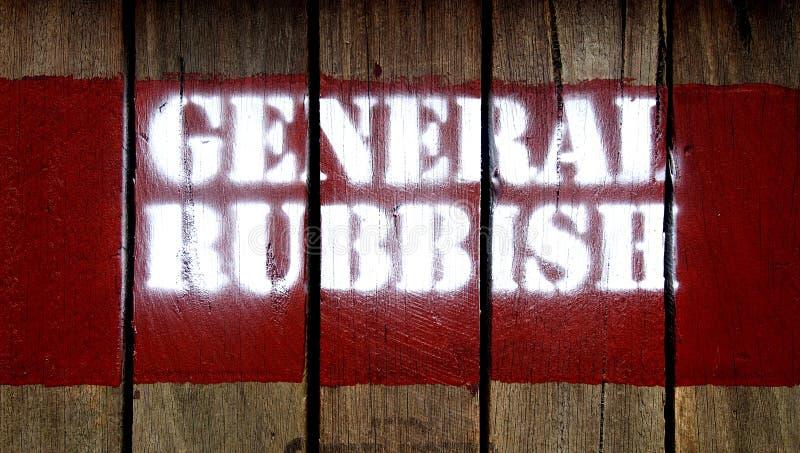 Bollo GENERALE del segno dei RIFIUTI su legno fotografie stock libere da diritti