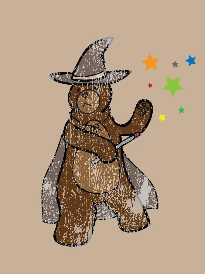 Bollo megical dello stregone dell'orso bruno illustrazione di stock
