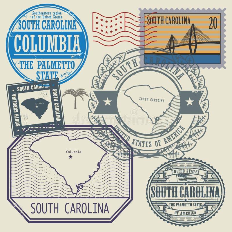 Bollo messo con il nome di Carolina del Sud illustrazione di stock