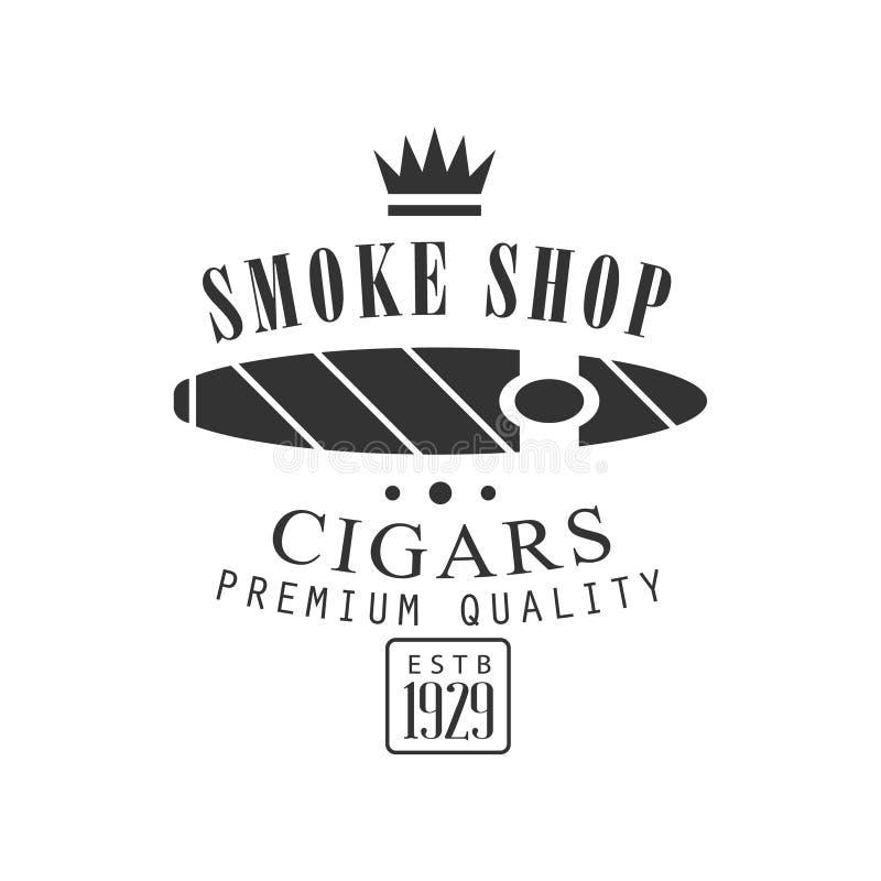 Bollo monocromatico di fumo del club di qualità premio del negozio del fumo del sigaro affinchè un posto fumino il modello di pro illustrazione di stock
