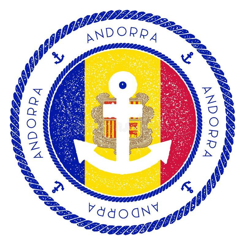 Bollo nautico di viaggio con la bandiera dell'Andorra e illustrazione vettoriale