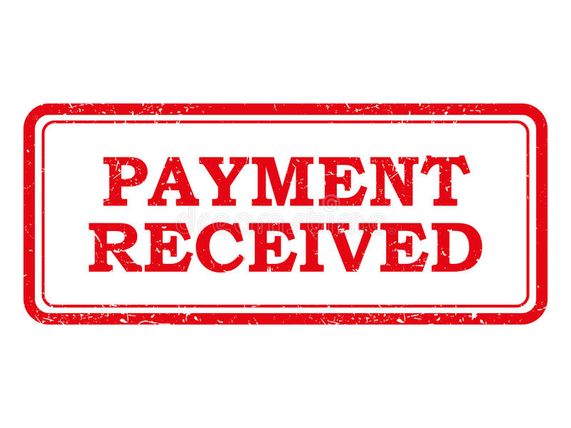 Bollo o autoadesivo ricevuto pagamento rosso illustrazione di stock