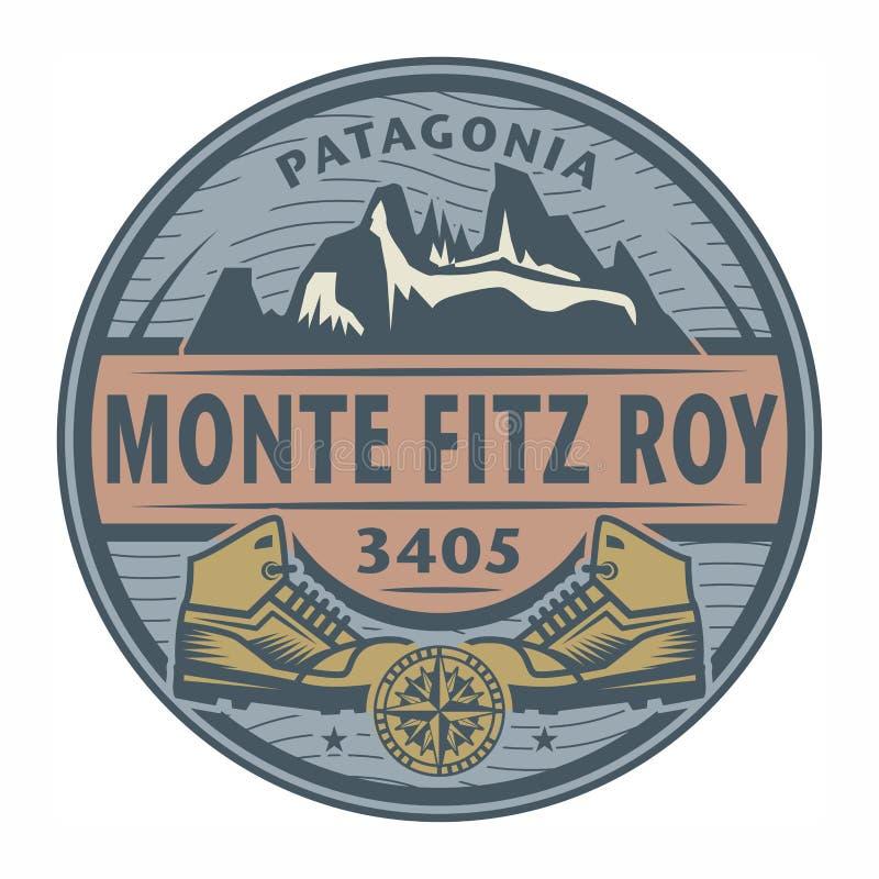 Bollo o emblema con testo Monte Fitz Roy, Patagonia illustrazione vettoriale