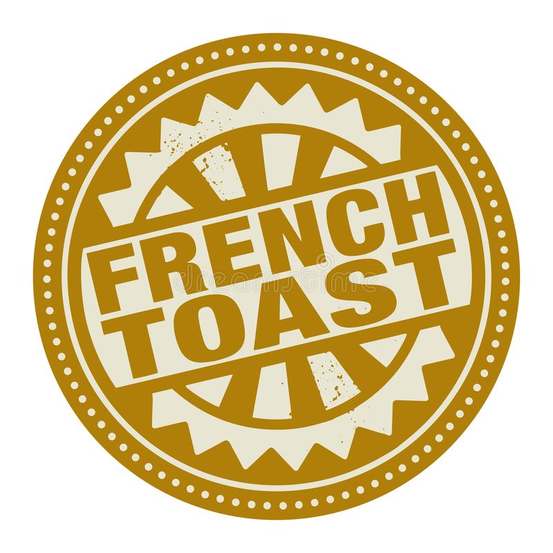 Bollo o etichetta astratto con il pane inzuppato in latte/uova e zucchero e fritto in padella del testo scritto insid royalty illustrazione gratis