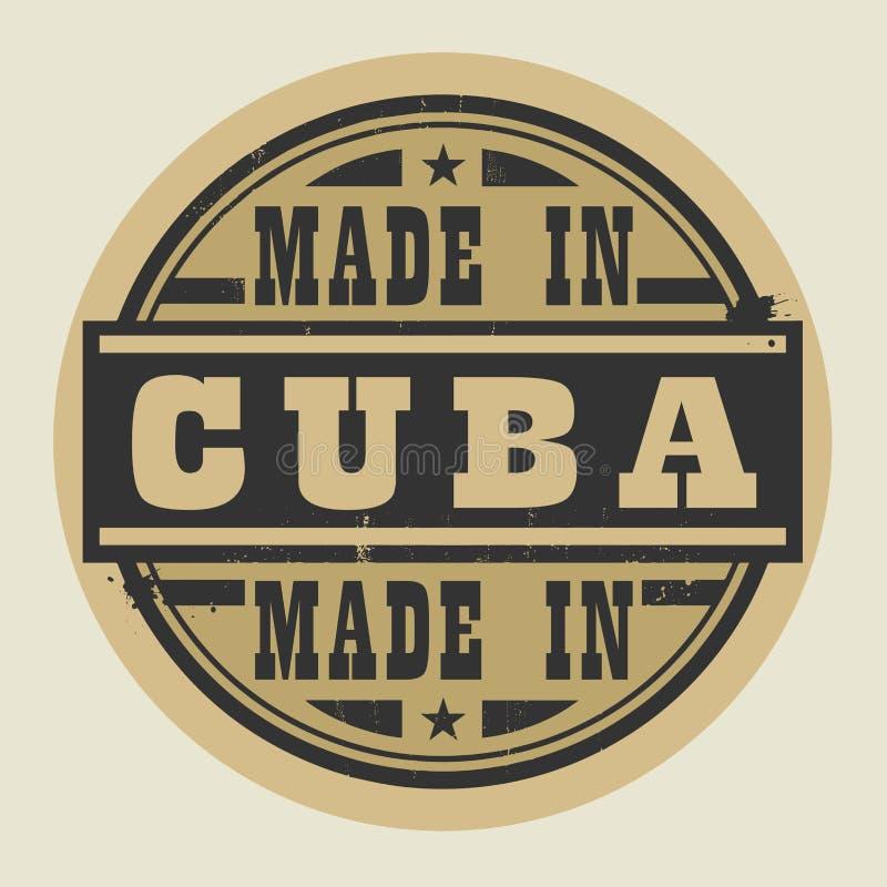 Bollo o etichetta astratto con testo fatto in Cuba royalty illustrazione gratis