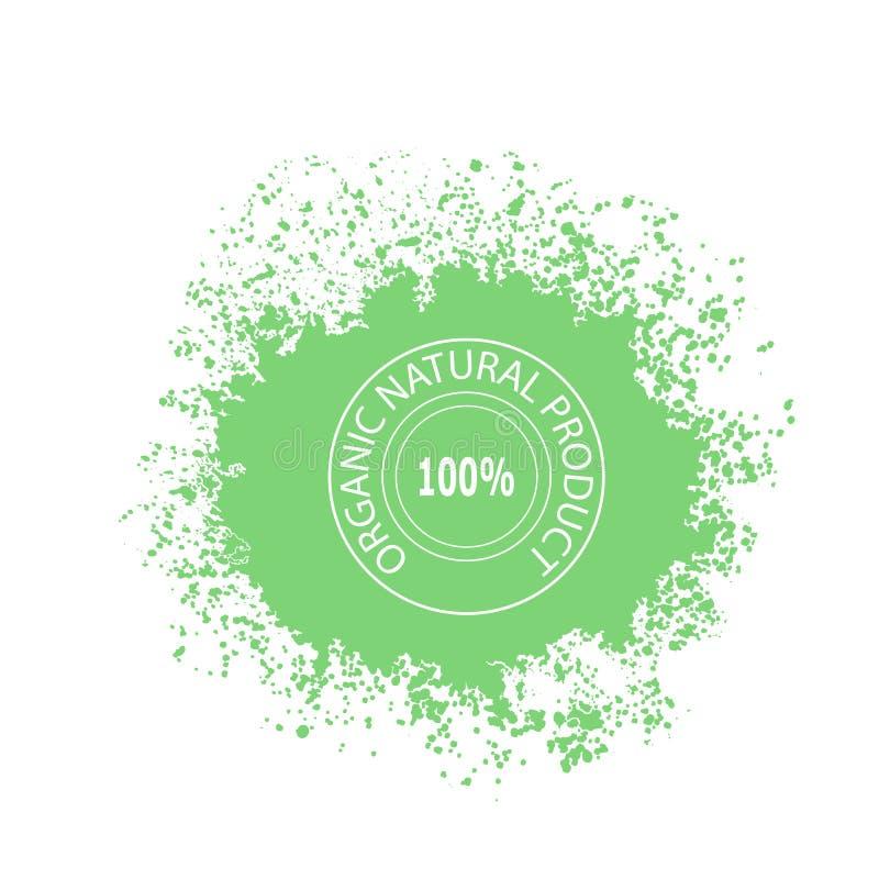 Bollo per il prodotto biologico naturale su chiazza verde con le gocce royalty illustrazione gratis