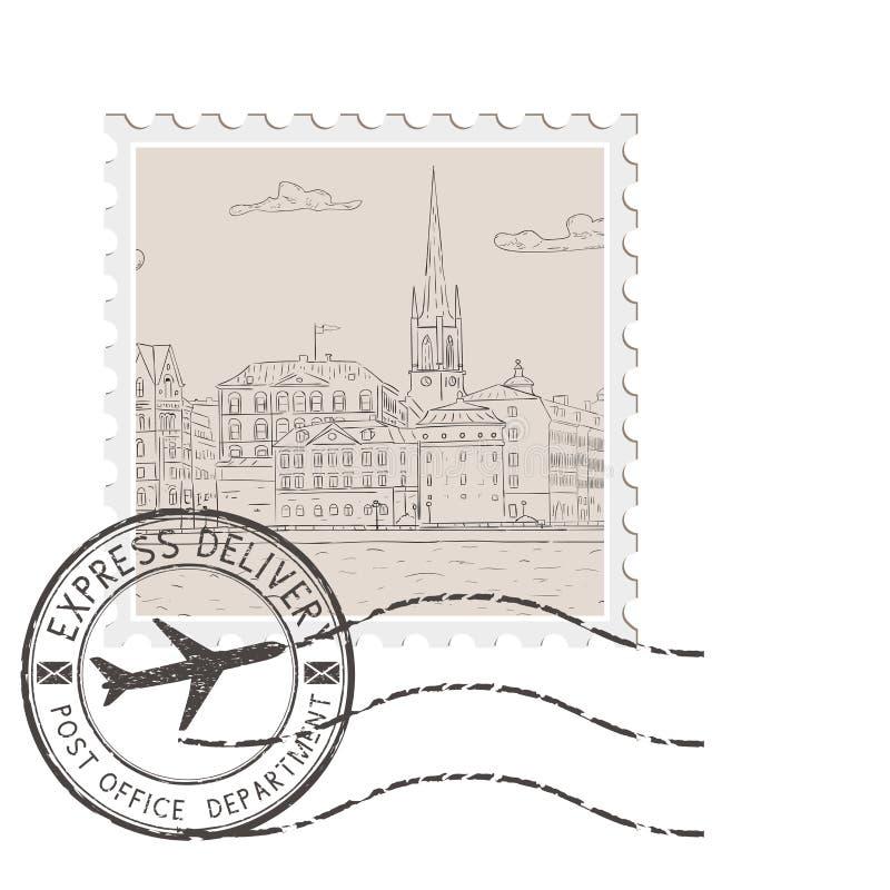 Bollo postale con vecchio panorama della città Con il timbro postale nero illustrazione vettoriale