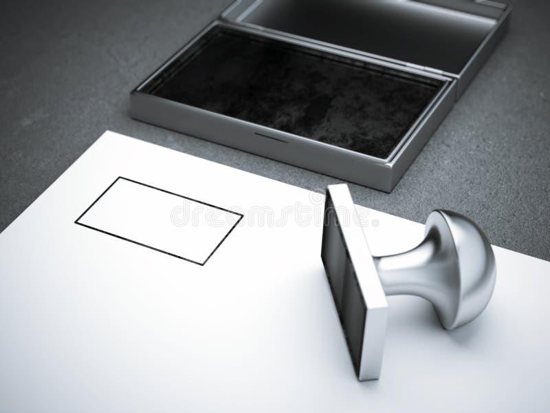 Bollo quadrato in bianco del metallo fotografia stock libera da diritti