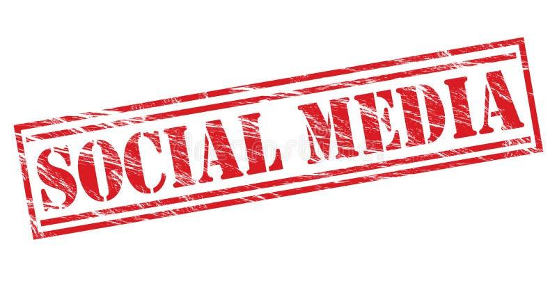 Bollo rosso di media sociali illustrazione di stock