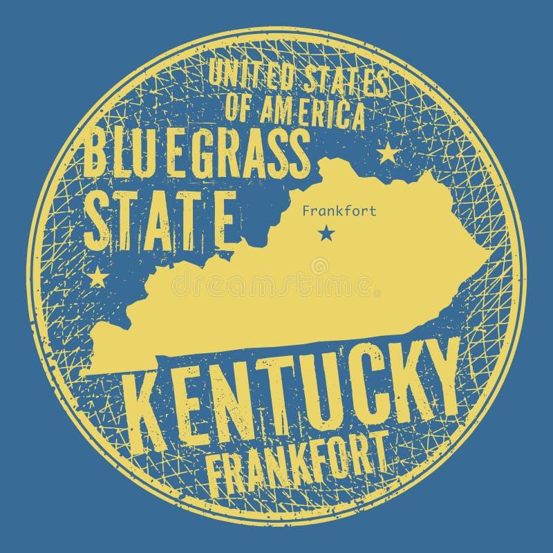 Bollo rotondo d'annata di lerciume con il frankfurter del testo, Kentucky illustrazione di stock