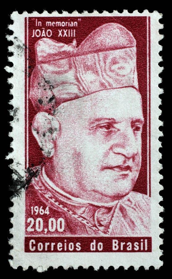 Bollo stampato dal Brasile In memoriam Papa Giovanni XXIII fotografie stock libere da diritti