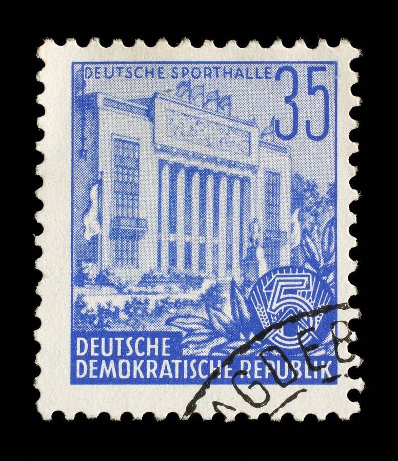 Bollo stampato nel GDR, palestra di manifestazioni fotografia stock libera da diritti
