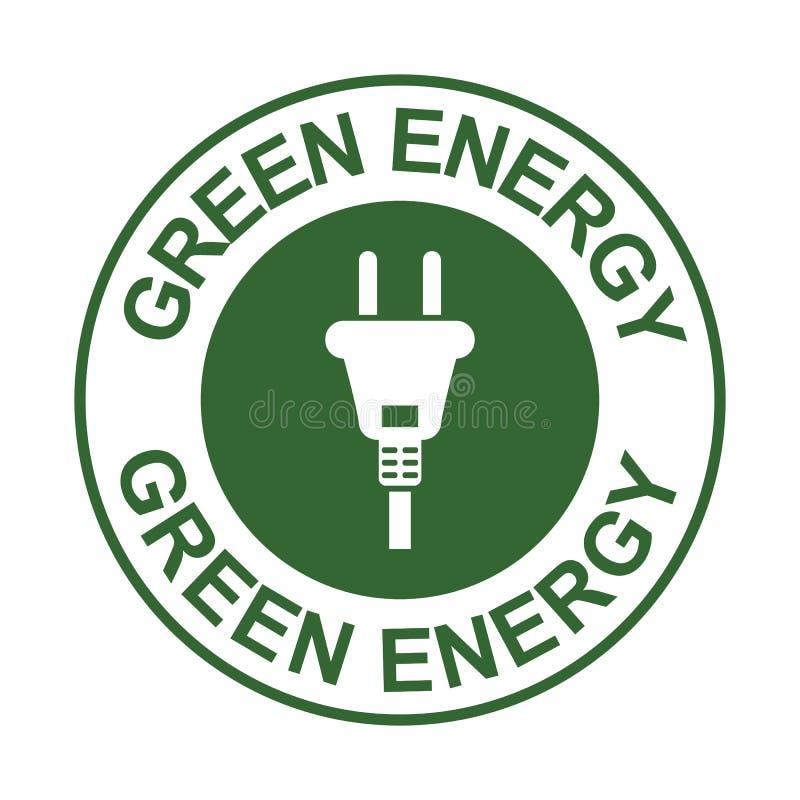 Bollo verde di energia con il segno della spina, simbolo economizzatore d'energia di potere, isolato su fondo bianco, illustrat d illustrazione vettoriale