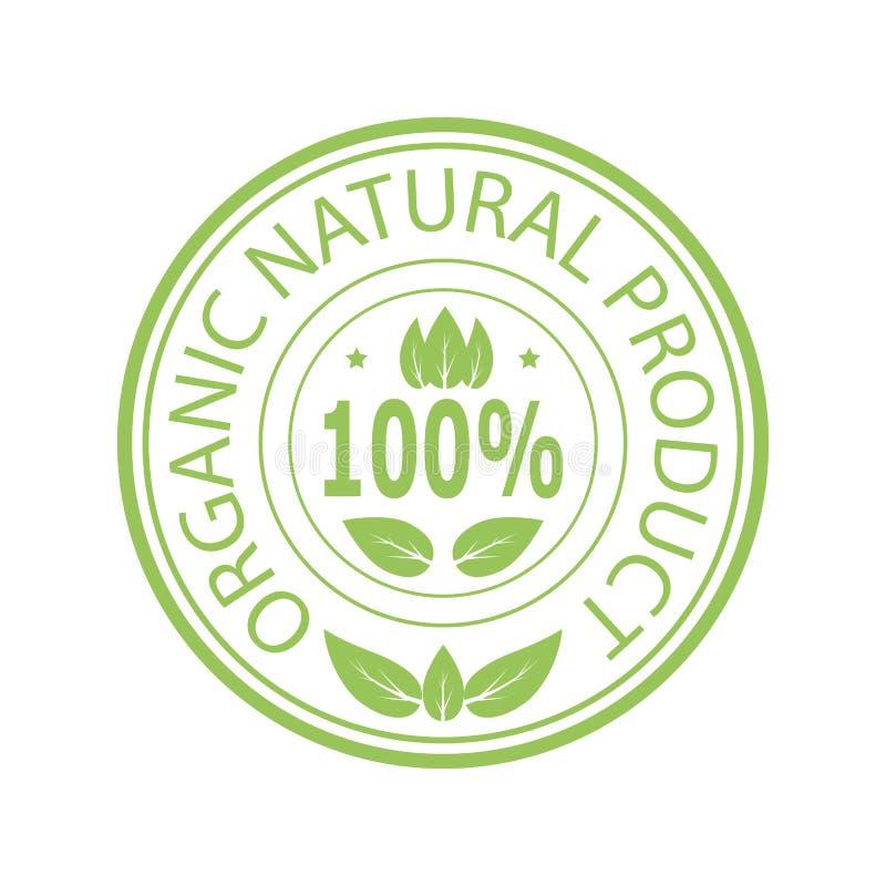 Bollo verde per il prodotto biologico naturale illustrazione di stock