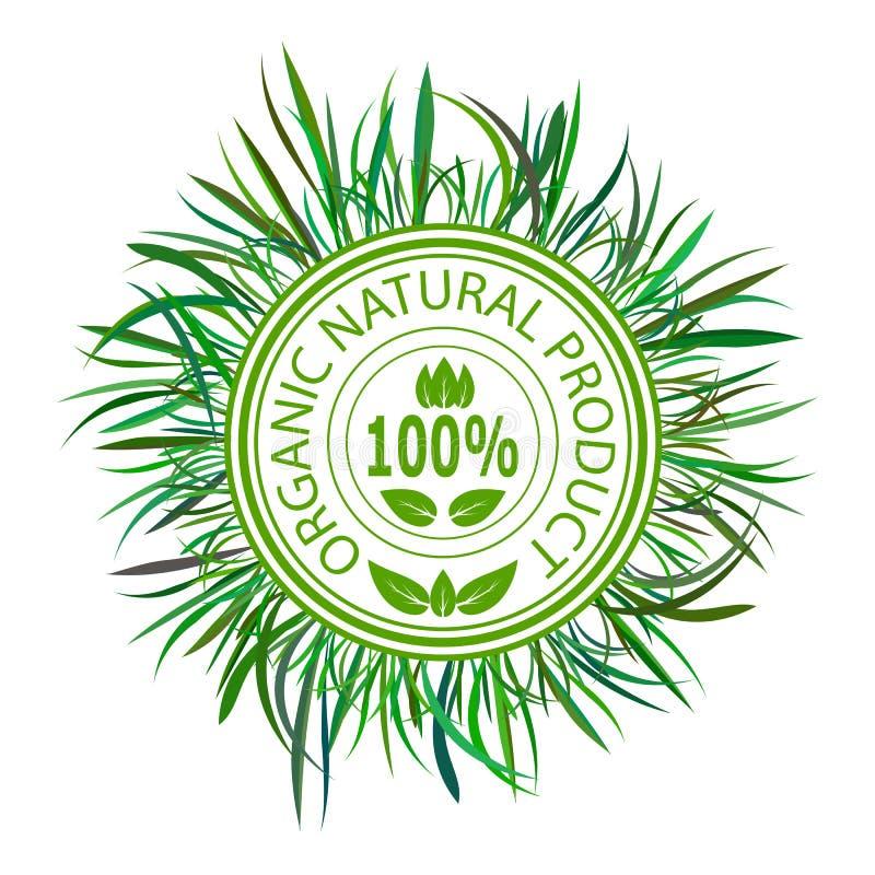 Bollo verde per il prodotto biologico naturale illustrazione vettoriale