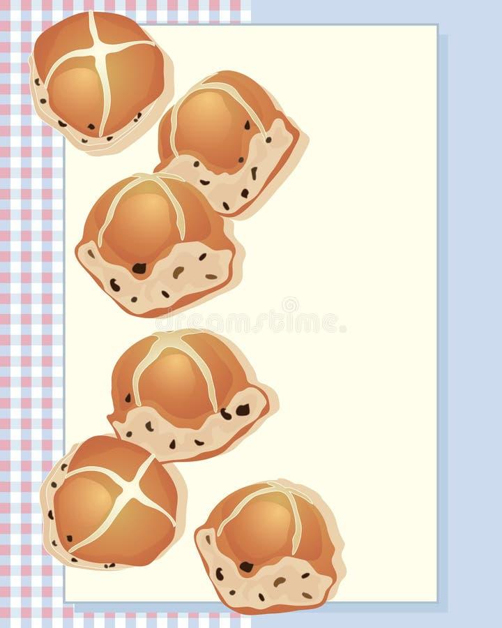 Bollos cruzados calientes stock de ilustración