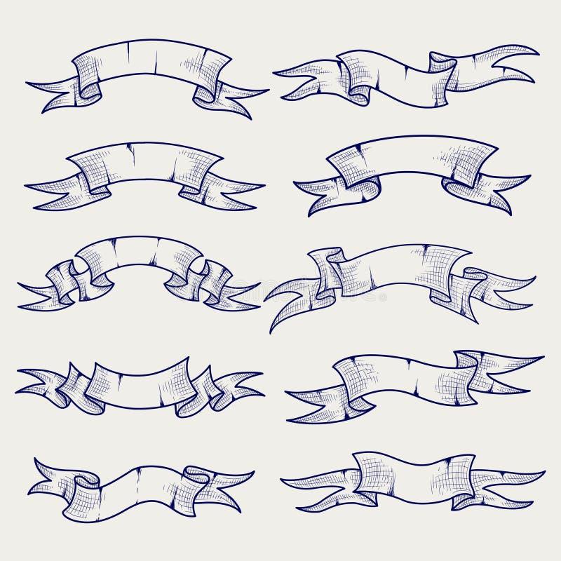 Bollpennan skissar av tappningband royaltyfri illustrationer