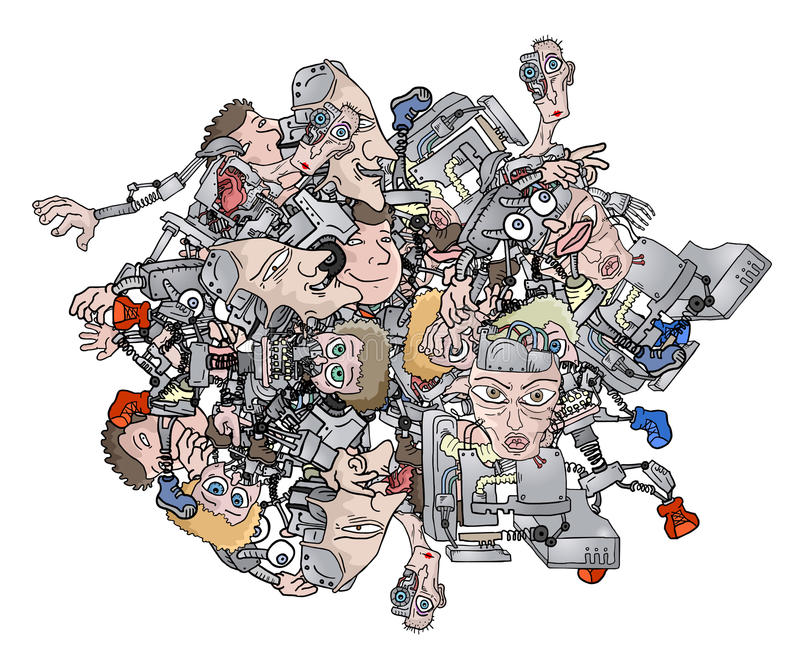 Bollrobot stock illustrationer