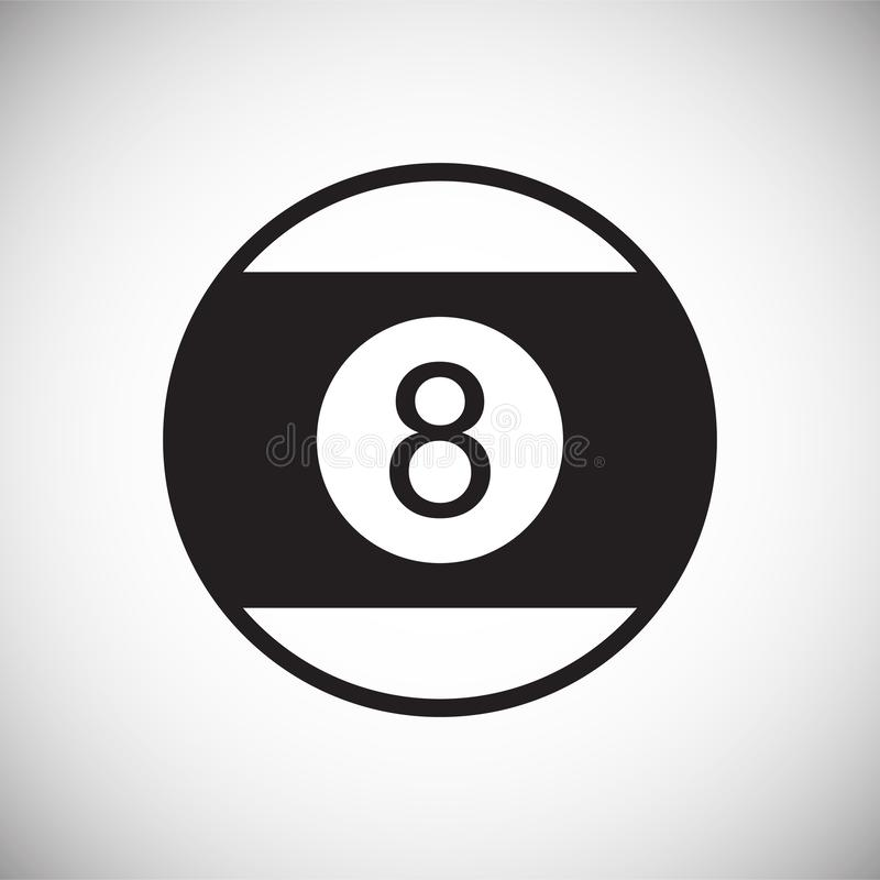 Bollsymbol för pöl åtta på vit bakgrund för diagrammet och rengöringsdukdesignen, modernt enkelt vektortecken för färgbegrepp för royaltyfri illustrationer