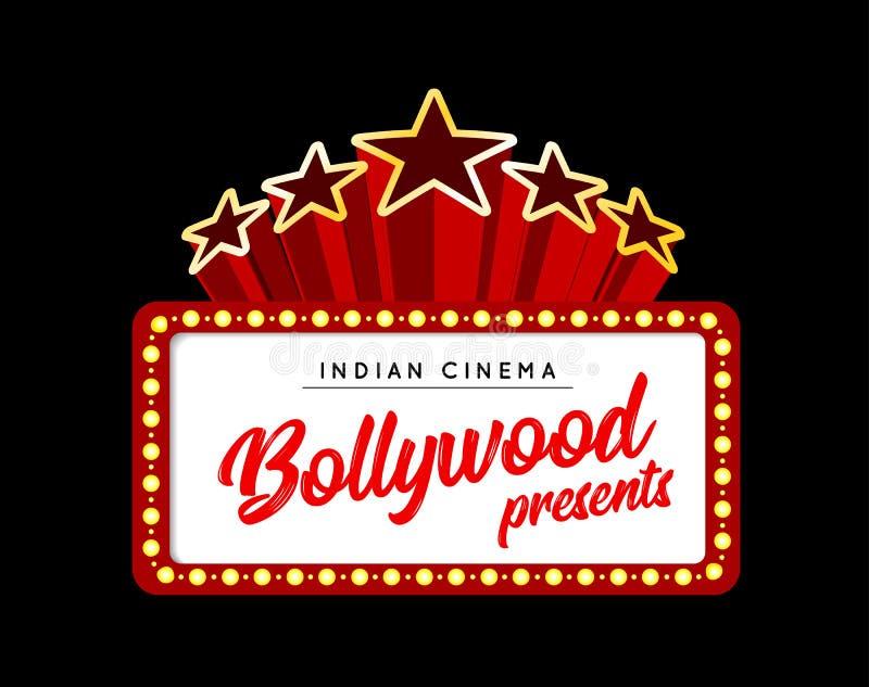 Bollywood é um filme indiano tradicional Ilustração do vetor com luzes do famoso ilustração royalty free