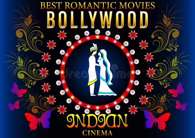 Bollywood Banner Romantic. Bollywood Banner Love Romantic. Gold inscription,loving couple in Pattern flowers circle, Indian Cinema Poster. Vector Illustration stock illustration