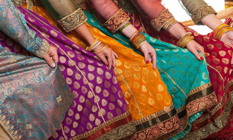 Bollywood dancers dress stock photography