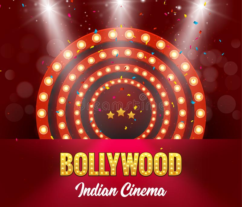 Bollywood Indian Cinema Film Banner. Indian Cinema Logo Sign Design Glowing Element with Stage stock illustration
