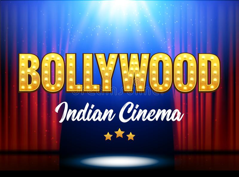 Bollywood Indian Cinema Film Banner. Indian Cinema Logo Sign Design Glowing Element with Stage and Curtains.  royalty free illustration