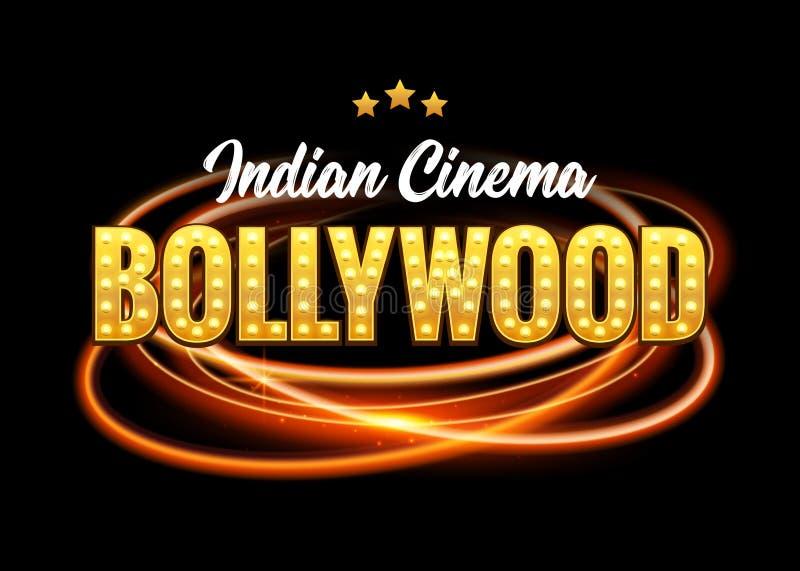Bollywood Indian Cinema Film Banner. Indian Cinema bollywood Logo Sign Design Glowing Element royalty free illustration