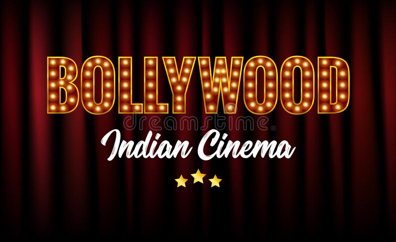 Bollywood Indian Cinema Film Banner. Indian Cinema Logo Sign Design Glowing Element with Stage and Curtains stock illustration
