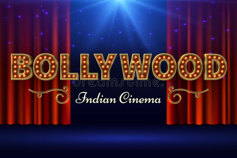 Bollywood indian film. Vintage movie poster with old stage and red curtain. Vector illustration. Bollywood cinema banner, movie cinematography industry stock illustration