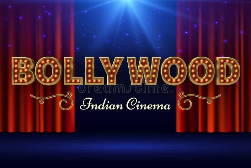 Bollywood Indische film Uitstekende filmaffiche met oud stadium en rood gordijn Vector illustratie stock illustratie