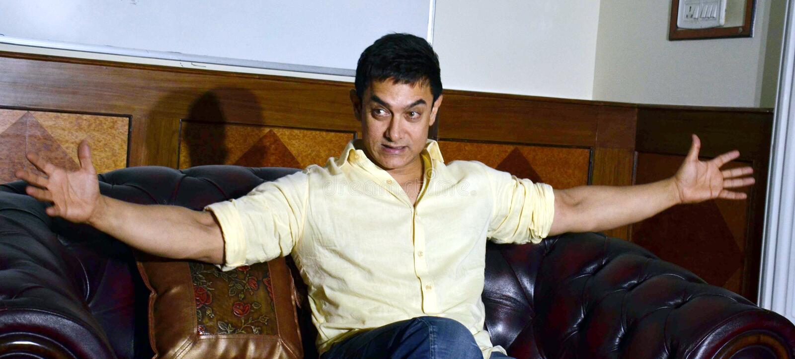 Bollywood star Aamir Khan. Addressing a press conference  during his visit in Bhopal, Capital city of Madhya pradesh state in India stock photos